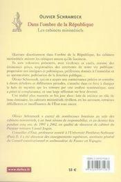 Dans l'ombre de la république ; les cabinets ministériels - 4ème de couverture - Format classique