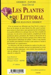Les plantes du littoral - 4ème de couverture - Format classique