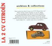 La 2 cv citroen - 4ème de couverture - Format classique