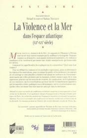 Violence et la mer - 4ème de couverture - Format classique