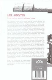Les luddites ; bris de machines, économie politique et histoire - 4ème de couverture - Format classique