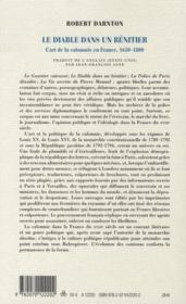 Le diable dans un bénitier ; l'art de la calomnie en France, 1650-1800 - 4ème de couverture - Format classique