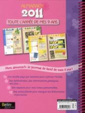 Toute l'année de mes 9 ans ; almanach 2011 - 4ème de couverture - Format classique