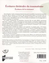 Écritures théâtrales du traumatisme - 4ème de couverture - Format classique