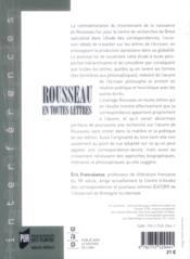 Rousseau en toutes lettres - 4ème de couverture - Format classique