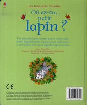 Où es-tu petit lapin ? - 4ème de couverture - Format classique
