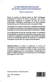 La recherche française en intelligence économique ; bilan et perspectives - 4ème de couverture - Format classique