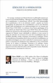 Généalogie de la mondialisation ; analyse de la crise identitaire actuelle - 4ème de couverture - Format classique