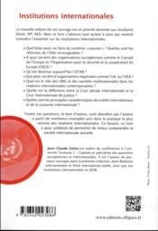 Institutions internationales (7e édition) - 4ème de couverture - Format classique