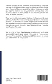 Essai socio-anthropologique des noms et prénoms Akposso et Ewé au Togo - 4ème de couverture - Format classique