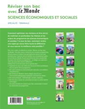 Réviser son bac avec Le Monde ; spécialité SES - 4ème de couverture - Format classique