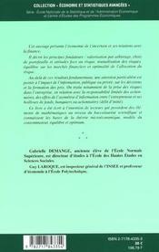 Finance Et Economie De L'Incertain ; Economie Et Statistique Avancees ; Edition 2001 - 4ème de couverture - Format classique