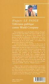 Television publique contre world company - 4ème de couverture - Format classique