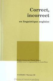 Correct/Incorrect En Linguistique Anglaise - Intérieur - Format classique