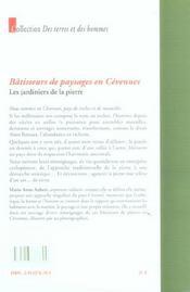 Batisseurs de paysage en ceven - 4ème de couverture - Format classique