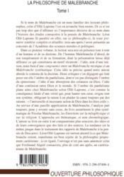 La philosophie de Malebranche t.1 - 4ème de couverture - Format classique
