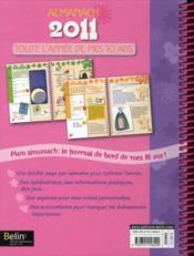 Toute l'année de mes 10 ans ; almanach 2011 - 4ème de couverture - Format classique