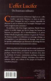 L'effet Lucifer ; des bourreaux ordinaires - 4ème de couverture - Format classique