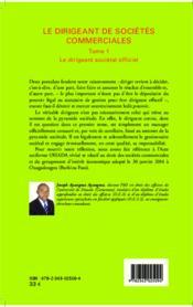 Dirigeant de sociétés commerciales t.1 ; le dirigeant sociétal officiel - Couverture - Format classique