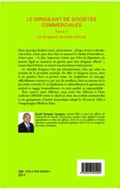 Dirigeant de sociétés commerciales t.1 ; le dirigeant sociétal officiel - 4ème de couverture - Format classique