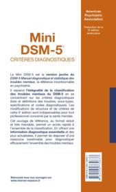 Mini DSM-5 ; critères diagnostiques - 4ème de couverture - Format classique
