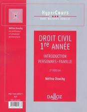 Droit Civil ; 1e Annee - 4ème de couverture - Format classique