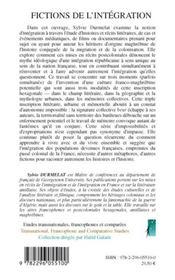 Fictions De L'Integration - 4ème de couverture - Format classique