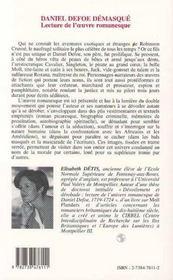 Daniel Defoe Demasque ; Lecture De L'Oeuvre Romanesque - 4ème de couverture - Format classique