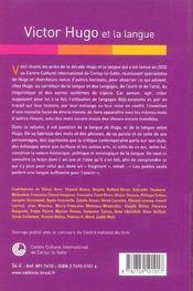 Victor hugo et la langue (actes cerisy) - 4ème de couverture - Format classique