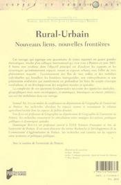 Rural-urbain nouveaux liens, nouvelles frontieres - 4ème de couverture - Format classique