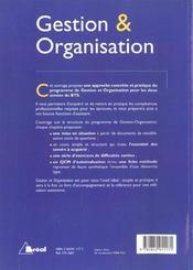 Gestion et organisation - 4ème de couverture - Format classique