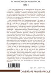 La philosophie de Malebranche t.2 - 4ème de couverture - Format classique