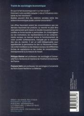 Traité de sociologie économique (2e édition) - 4ème de couverture - Format classique
