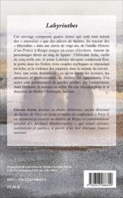 Labyrinthes - theatre / exercice - 4ème de couverture - Format classique
