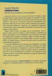 Prédations ; histoire des privatisations des biens publics - 4ème de couverture - Format classique