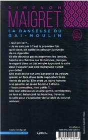 La danseuse du Gai-Moulin - 4ème de couverture - Format classique