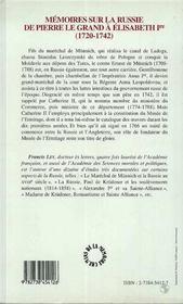 Mémoires sur la russie de pierre le grand à élisabeth 1ère - 4ème de couverture - Format classique