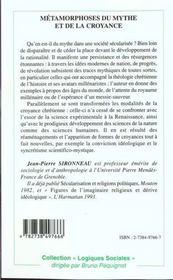 Metamorphoses Du Mythe Et De La Croyance - 4ème de couverture - Format classique