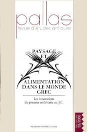 Revue Pallas N.52 ; Paysage Et Alimentation Dans Le Monde Grec Antique - Couverture - Format classique