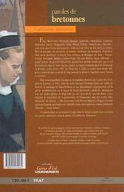 Paroles De Bretonnes - 4ème de couverture - Format classique