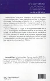 Développement ; gouvernance ; globalisation ; du XX au XXI siècle - 4ème de couverture - Format classique