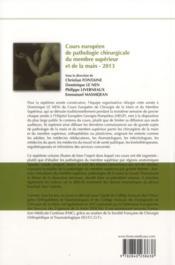 Cours européen de pathologie chirurgicale du membre supérieur et de la main - 2013 - 4ème de couverture - Format classique
