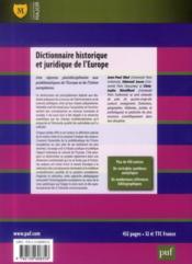 Dictionnaire historique et juridique de l'Europe - 4ème de couverture - Format classique