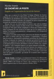 Le caché de la Poste ; enquête sur l'organisation du travail des facteurs - 4ème de couverture - Format classique
