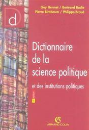 Dictionnaire De La Science Politique Et Des Institutions Politiques - Intérieur - Format classique