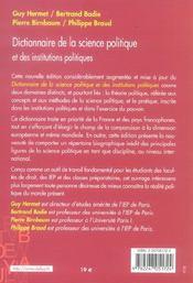 Dictionnaire De La Science Politique Et Des Institutions Politiques - 4ème de couverture - Format classique
