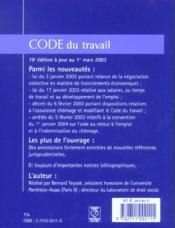 Code Du Travail 2003 - 4ème de couverture - Format classique