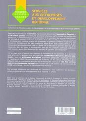 Services Aux Entreprises Et Developpement Regional. - 4ème de couverture - Format classique