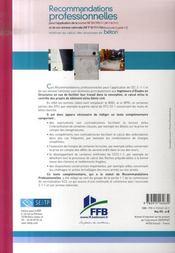 Recommandations professionnelles pour l'application de la norme nf re 1992-1-1 et de son annexe nat - 4ème de couverture - Format classique