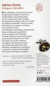 Intrigue à Versailles - 4ème de couverture - Format classique